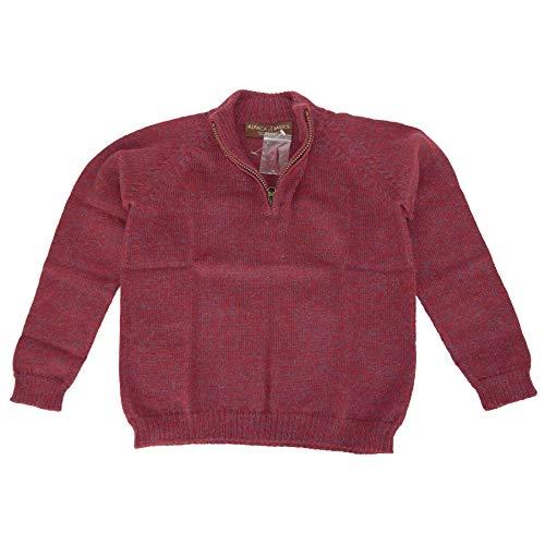Alpaca Basics Boys Handmade 100% Alpaca Wool Half Zip Sweater (Marled Red, 6)