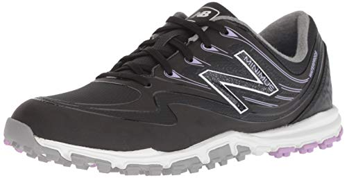 New Balance Women's Minimus WP Waterproof Spikeless Comfort Golf Shoe, Black/Purple, 7.5 M US