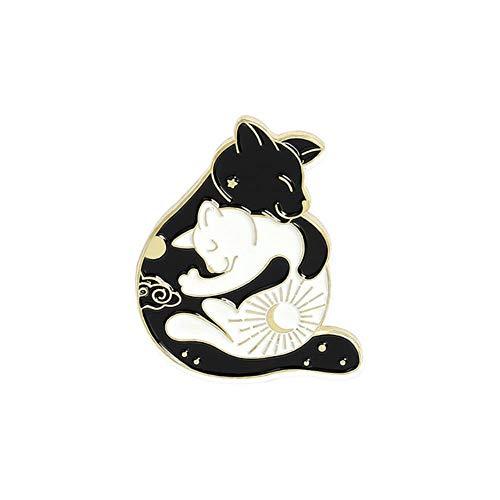 Insignias de dibujos animados Gossip Fox Goldfish Dragon Sheep Rabbit Broches para mujeres Creativo Yin y Yang Animal Esmalte Pin Accesorios-3