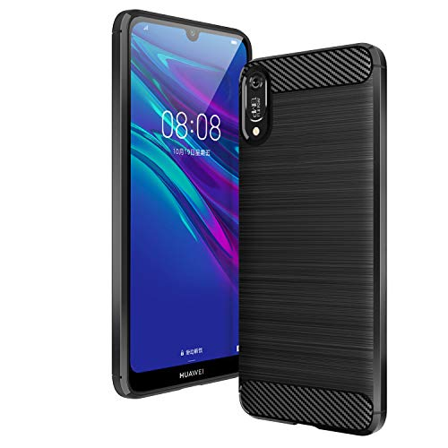 AIFIVE Huawei Y6 2019 Hülle, Flexiblem TPU Silikon Hybrid Schutzhülle Kohlenstoff-Fasern Tasche Slim-Fit Handyhülle für Huawei Y6 2019 (Schwarz)