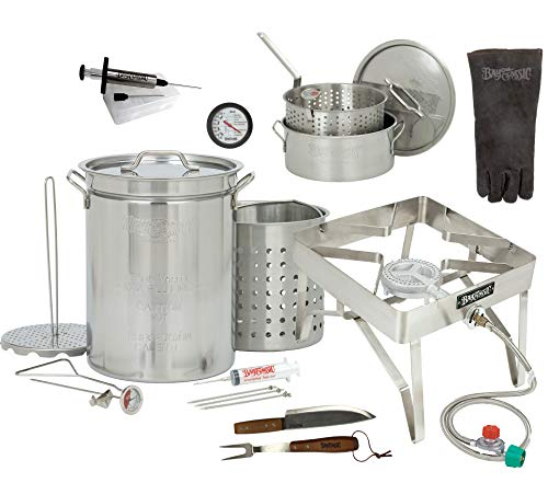 Enterprises Turkey Deep Fryer 32 Quart Complete Stainless Steel Deluxe Ultimate Kit with 10 Quart Fry Pot and Much More UP to 18 Pound Turkey