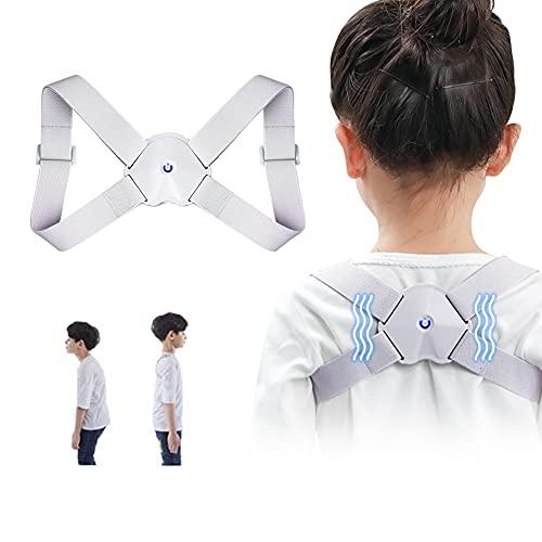 Haltungskorrektur Rücken Kinder,Intelligenter Korrekturgürtel,Korrekturgürtel,mit intelligenten Sensor Vibration Verstellbare obere Rückenstützen verbessern Nacken- und Rückenschmerzen