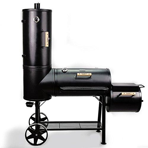 TAINO Chief 130 XXL Smoker 130kg BBQ GRILLWAGEN Holzkohle Grillkamin 3,5 mm Stahl Profi-QUALITÄT Räucherofen (130 kg Smoker)