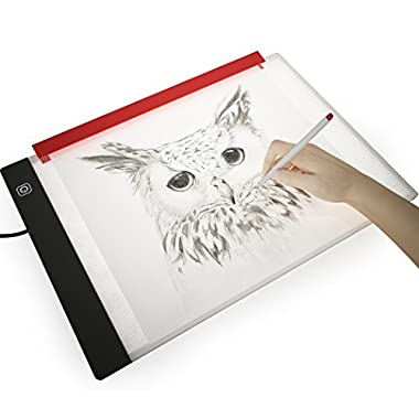Picture/Perfect Best Light Box for Tracing ~ Ultra Thin Portable LED Light Pad with Advanced Filter to Prevent Eye Fatigue, Plus Free Paper Holder Clamp, A4 9 x13  Table with Hi-Mid-Low Brightness