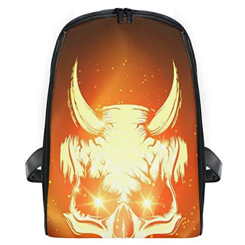 ELIENONO Brennende Schädel-Höllen-Flamme auf Schwarzem,Laptop Rucksack für Männer Schulrucksack Multifunktionsrucksack Mini Tagesrucksack für Schule Wandern Reisen Camping