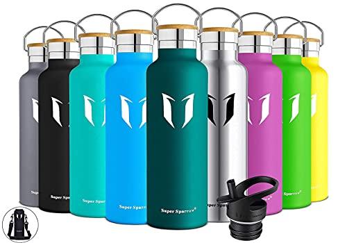 Super Sparrow Trinkflasche Edelstahl Wasserflasche 750ml - Isolier Flasche mit Perfekte Thermosflasche für Das Laufen, Fitness, Yoga, Im Freien und Camping | Frei von BPA, Dunkelgrün
