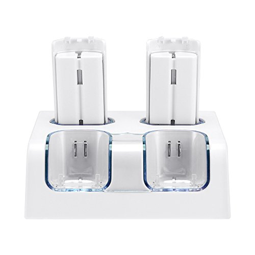 Jevogh Wii-Ladestation, GR56 Dual-Ladestation für Wii-Fernbedienung mit Zwei 2800mAh Akkus, Fernladegerät für Wii-Controller mit LED-Anzeige Schwarz