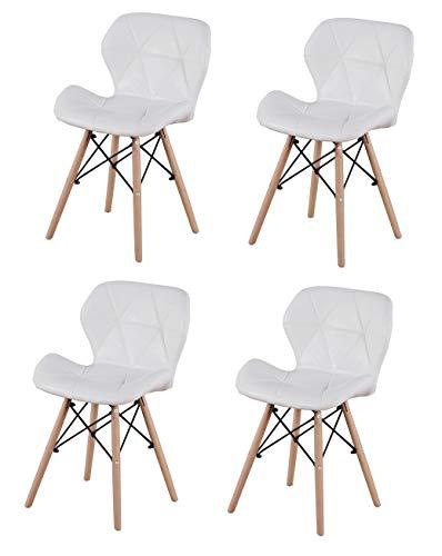ZMALL - Juego de 4 sillas de comedor de piel sintética con patas de madera, cojín de asiento suave para casa, restaurante, recepción, salón, sala de estar, esquina interior, color blanco