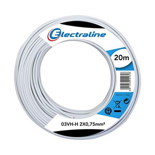 Electraline 10674 Cable 03VH-H, Sección 2x0,75 mm, 20 mt, Blanco