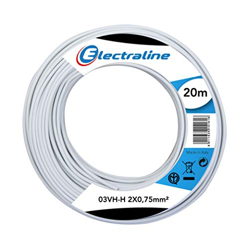 Electraline 10674 Cable 03VH-H, Sección 2x0,75 mm, 20 mt, Blanco