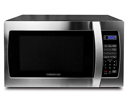 Farberware Professional FMO13AHTBKE 1.3 Cu. Ft. 1000-Watt, Microwave Oven with Blue LED Lighting, Stainless Steel (Renewed)