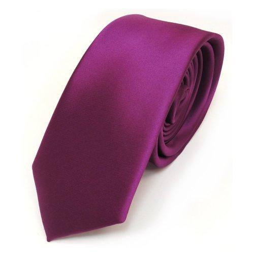 TigerTie schmale Satin Krawatte in lila magenta fuchsia einfarbig uni