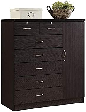 Pemberly Row Tall 7 Drawer Chest with 2 Locking Drawers and Garment Rod or Extra Storage in Chocolate Brown