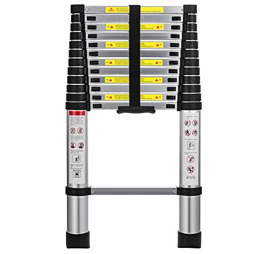 Hihone 12.5FT Telescoping Ladder, Quick Button Retraction Slow Down Protective Design, 300LBS Capacity Anti-Slip & Lightweight, Collapsible Ladder with Spring Loaded Locking Mechanism