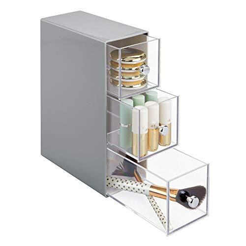 mDesign Schubladenbox – Kosmetik Organizer mit 3 Schubladen aus Kunststoff– praktisches Ordnungssystem fürs Badezimmer – grau/transparent