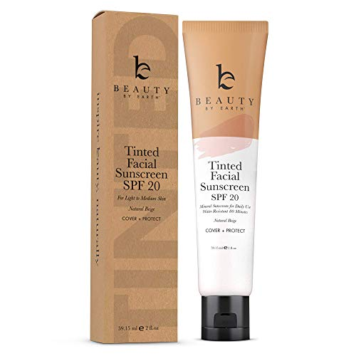 Tinted Sunscreen for Face - SPF 20 With Natural & Organic Ingredients Broad Spectrum Sunblock Lotion, Tinted Moisturizer Zinc Oxide Sunscreen Face for Skincare, Facial Sunscreen (Natural Beige)