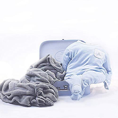 BebeDeParis   Regalos Originales para Bebés Recién Nacidos   Canastilla Bebé Manta   Ideal para paseos   3-6 Meses (Azul)