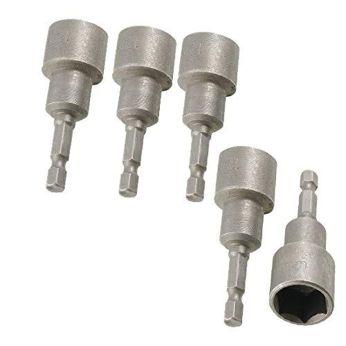 X-DREE 5 Pieces 1/4i_n Drill Hole Magnetic Spanner 16m_m Hex Nut Driver Bit Tool (5 embouts hexagonaux magnétiques 1/4'Pour clé de 16 mm et embout de vissage