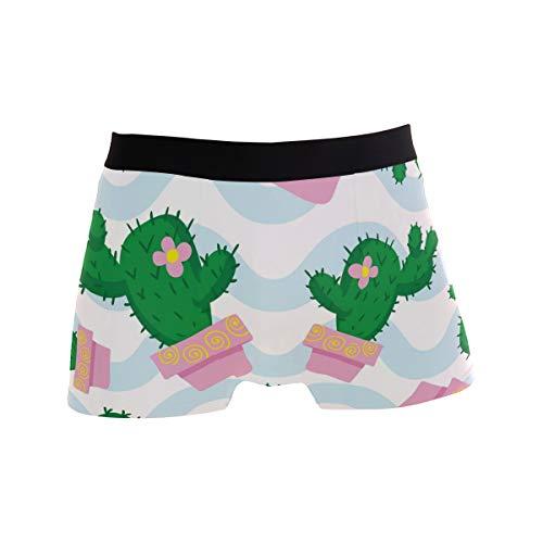 Jessgirl Inicio Pantalones Blandos Ropa Interior para Hombres M Calzoncillos bóxer sexys Cactus Waves Line M