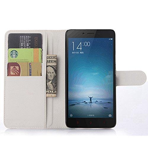 Ycloud Custodia Cover per Xiaomi Redmi Note2 Portafoglio Tasca Book Folding Custodia in Pelle con Supporto di Stand Cover Case Custodia Pelle con Stilo Penna Bianco