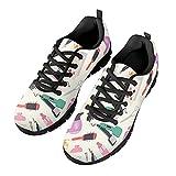 HUGS IDEA Zapatillas de running elegantes para hombres y mujeres, para correr, senderismo, zapatos deportivos de aire, flor doctor leopardo, Barber Black, 46 EU