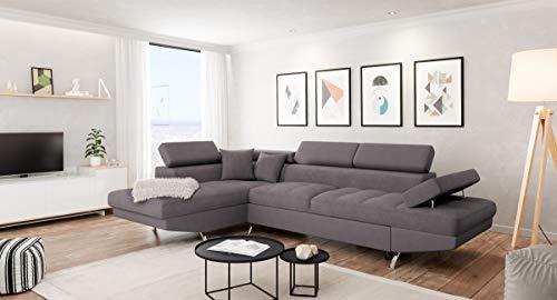 Canapé d'angle 2 places Gris Microfibre Panoramique