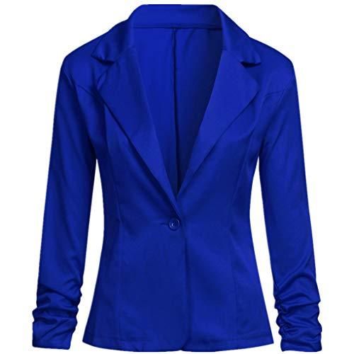 Dorical Blazer Damen Langärmliger Kurzer Taillierter Anzugjacke/Elegant Dünn Bolero Jacke Slim Fit EIN Knopf Tailliert Anzug Trenchcoat Business Mantel Valentinstag-Anzüge (Blau,Small)