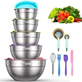 Mixing Bowls with Airtight Lids - 19 Piece Stainless Steel Nesting Bowls Set by Wildone, Colorful...