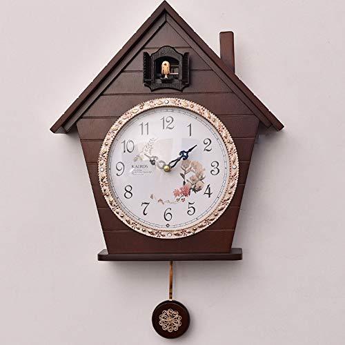 Massief hout Cuckoo Klok Zwarte Woud Huis Chalet Muziek Muur Pendulum Woonkamer Retro Houten Wandklok voor Kunst Woonkamer Keuken Kantoor Décor