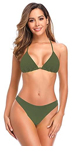 SHEKINI Damen Bikini Set Rückenfrei Verstellbar Ties up Plissee Klassischer Triangel Bikinioberteil Zweiteiliger Badeanzug Niedrige Taille Bikinihose Bademode(S,Olivgrün-B)