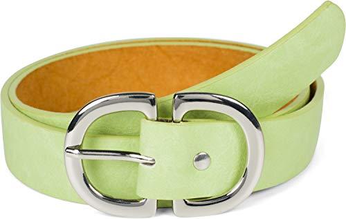 styleBREAKER Ceinture pour dames Unicolore avec double boucle en forme de D, ceinture de hanche, ceinture de taille, peut être raccourcie 03010117, taille:100cm, couleur:Vert pomme-argent