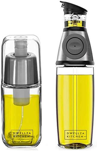 DWËLLZA KITCHEN Olive Oil Dispenser Bottle and Olive Oil Spray Bottle for Cooking Set – Olive Oil Sprayer Mister 6 OZ and Glass Oil Bottle 17 OZ with Measuring Pump Drip-Free Stainless Steel Spout