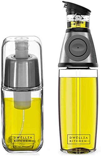 DWËLLZA KITCHEN Olive Oil Dispenser Bottle and Olive Oil Sprayer Mister for Cooking Set – Oil Spray Bottle 6 OZ and Glass Oil Bottle 17 OZ with Measurements Drip-Free Spout Stainless Steel