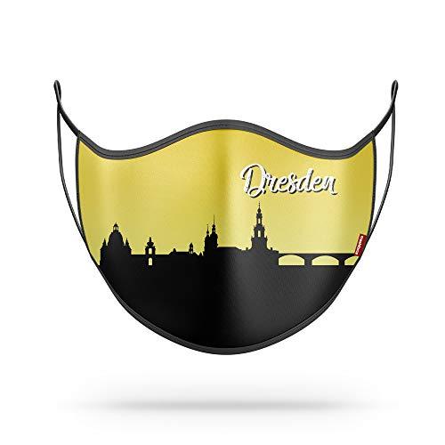 """SQUAD Behelfsmaske Mund-Nase-Maske """"Stadtmotiv Dresden"""" aus Baumwolle (Bio) & Polyester"""