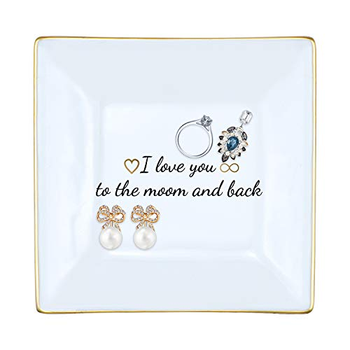 Mainbead Ceramic Jewelry Tray-Perfect for Holding Small jewelries,Home Decor Birthday Wedding Valentine for Mom Girlfriend (i Love You to The Moon & Back)