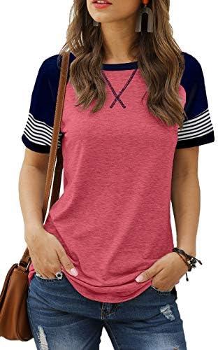 Sieanear Womens T Shirts Short Sleeve Striped...