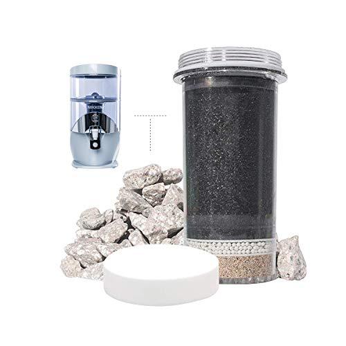 Nikken Aqua Pour Filterkartusche (1361) und Mikroschwamm-Vorfilter (1362) und Mineralsteine (1386) – Advance Ersatz für Schwerkraft-Wasserfilter-Reinigungssystem (1360) – PiMag Wassersystem