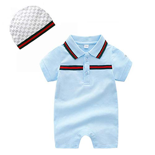 Baby Boys Romper Overalls Short Sleeve Polo Cotton Outfits Infant Clothes with Hat Light Blue 0-3M/59