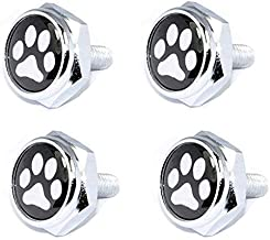 Cutequeen paw Print Slivery License Plate Frame Bolts Screws Metal(Pack of 4)