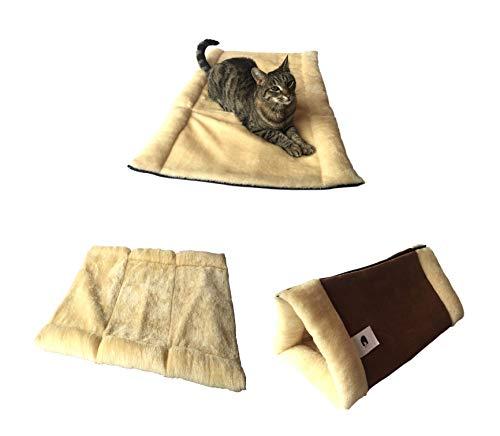 Alfombrilla y cama para gatos de lujo original KittyKave Deluxe de 89 x 58 cm (2 en 1) con túnel. Es la alfombra grande para gatos y cama para gatos con capas cálidas de aislamiento térmico, se puede lavar a máquina, fácil de almacenar y mantiene el pelo fuera de tu piel.