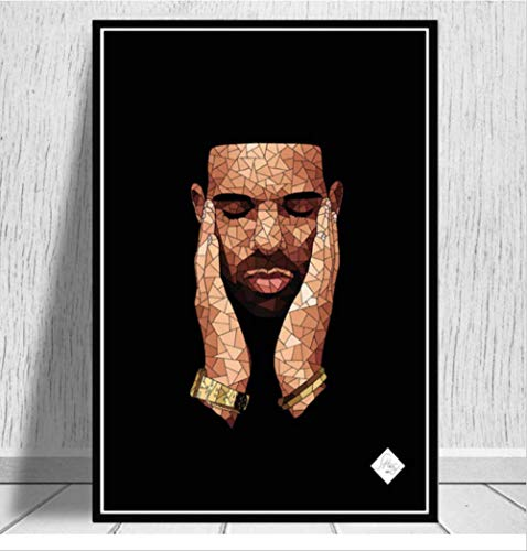 nobrand Poster Neue Drake Hip Hop Rap Musik Album Rapper Star Singer Kunst Leinwand Malerei Wandbilder Wohnkultur 50 * 70 cm Kein Rahmen