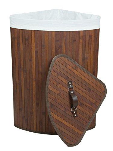 Kronenburg Bambus Wäschekorb Eckig mit Deckel, 60 x 35 x 35 cm, Dunkelbraun - Farb-/Modellwahl