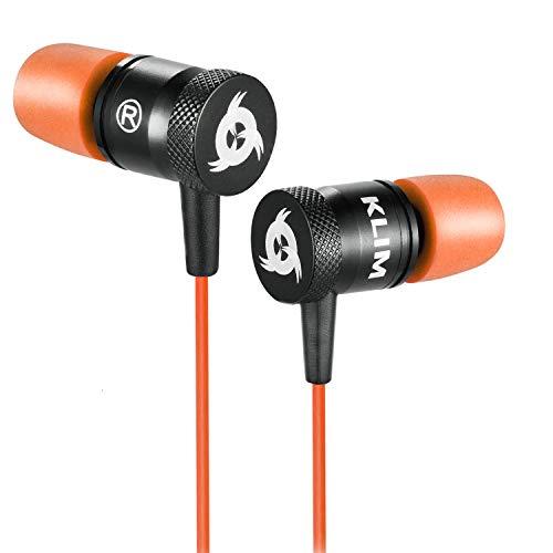 KLIM Fusion Kopfhörer in Ears mit Mikrofon - Langlebig - Innovativ: In-Ear Kopfhörer mit Memory Foam - Neue 2020 Version - 3.5 mm Jack - Sport Gaming In Ear Kopfhörer - Orange