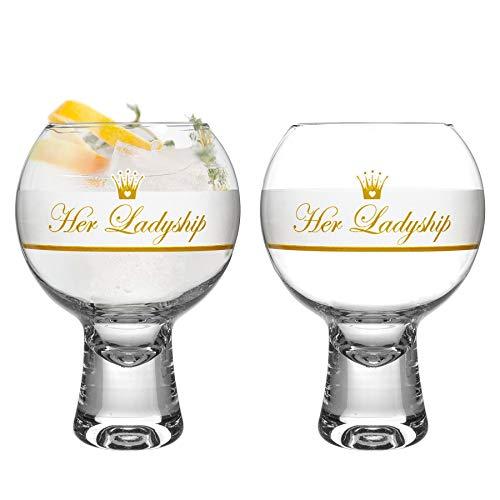 iStyle My Home 2 Piezas IKONIC Ladyship Gin Vasos Set - Decorado con Tallo Corto Globo español de Copa Balon Gin Tonic de Vidrio - 540ml