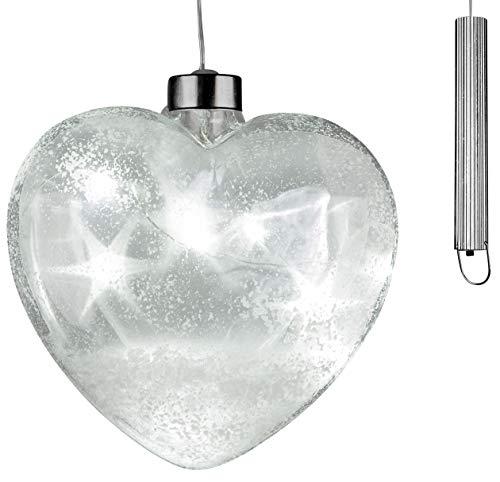 dekojohnson Christbaumdeko LED-Glas-Herz Glitter mit Timer-Funktion Fensterdeko Christbaumschmuck Weihnachtsbaum-Deko-Hänger klar Schneedekor 15 Ø Weihnachten