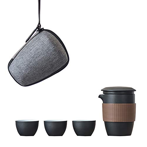 Portable Tea Cup Set, Ceramic Chinese-Kungfu Tea Set, Better Thermal Tnsulation,with Travel Bag