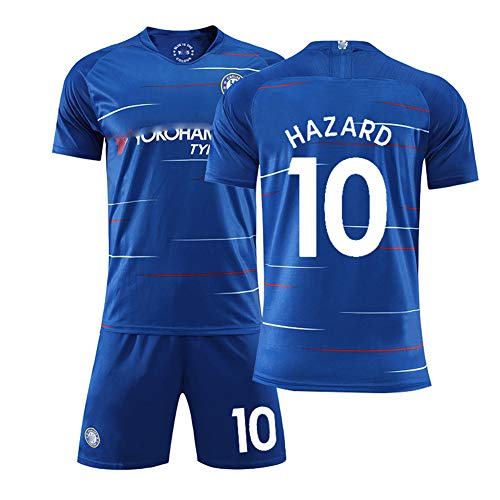 CHSC # 10 Hazard # 7 Kante Fußball Uniformen # 22 Willian # 9 Morata Trikot Set, Kurzarm Shorts Trainingsanzug für Herren Kind 4XS-XXL Blue(#10)-XS