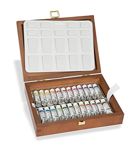 Schmincke – HORADAM AQUARELL Farbkasten, 24 x 5 ml Tuben, Porzellanpalette, 74224097, Holzkasten, hochwertiges Malset, feinste Premium Aquarellfarben