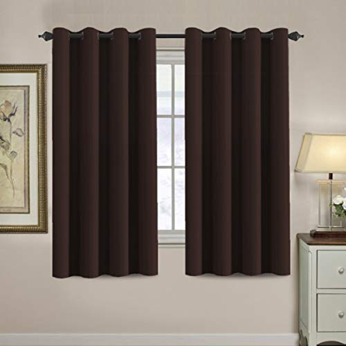 Blackout Curtains for Bedroom 63 Inches Length Thermal Insulated Curtain Grommet 63 Inch, Energy Efficient Curtain Small Window Blackout Drapes for Winter Season, 1 Panel, Chocolate Brown