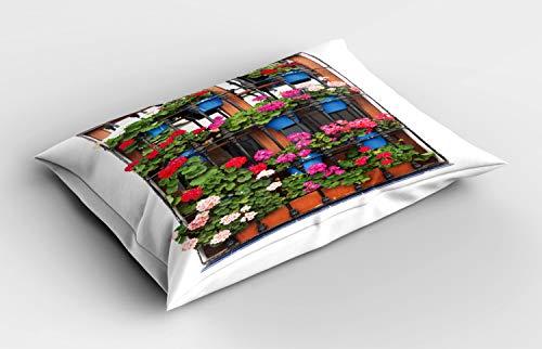 ABAKUHAUS geraniums Siersloop voor kussen, Bloempotten op Oud Venster, standaard maat bedrukte kussensloop, 65 x 50 cm, Veelkleurig